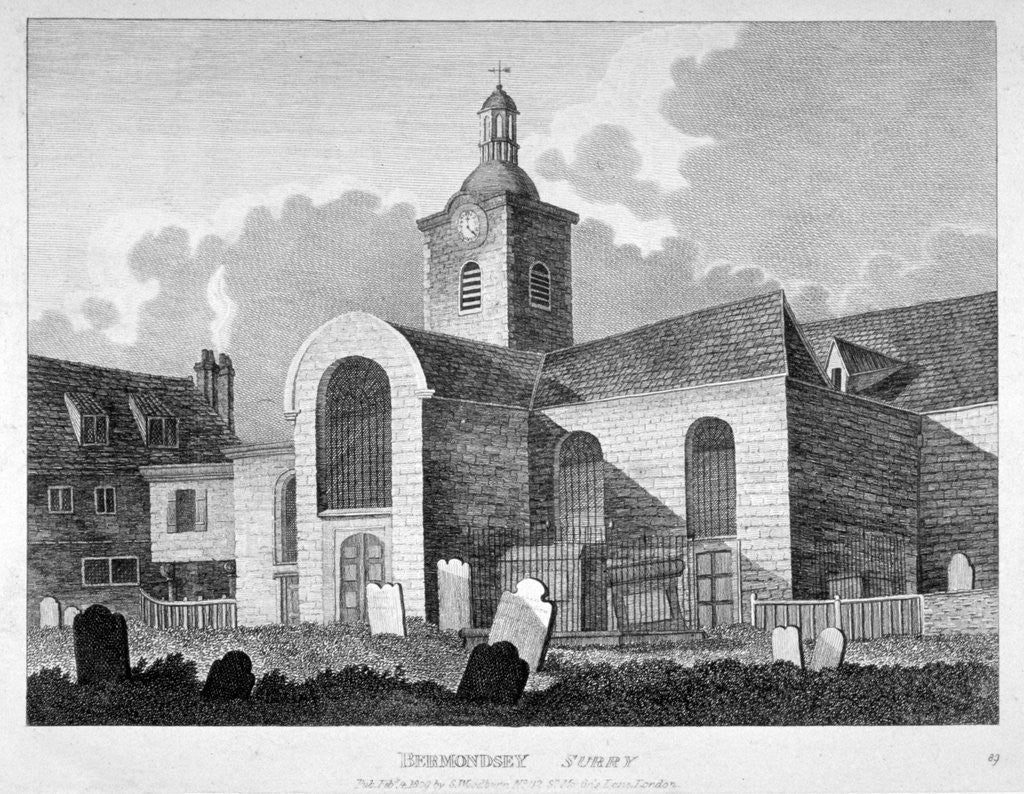 Detail of View of the Church of St Mary Magdalen, Bermondsey, London by
