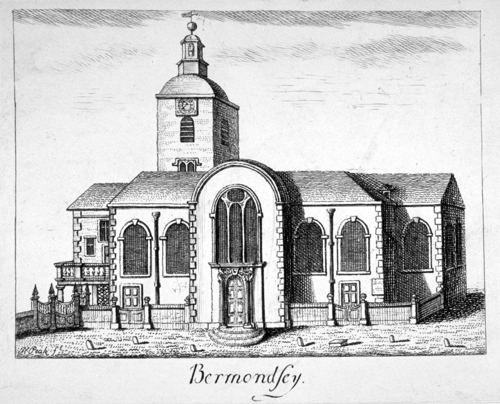 Detail of View of the Church of St Mary Magdalen, Bermondsey, London by James Peak