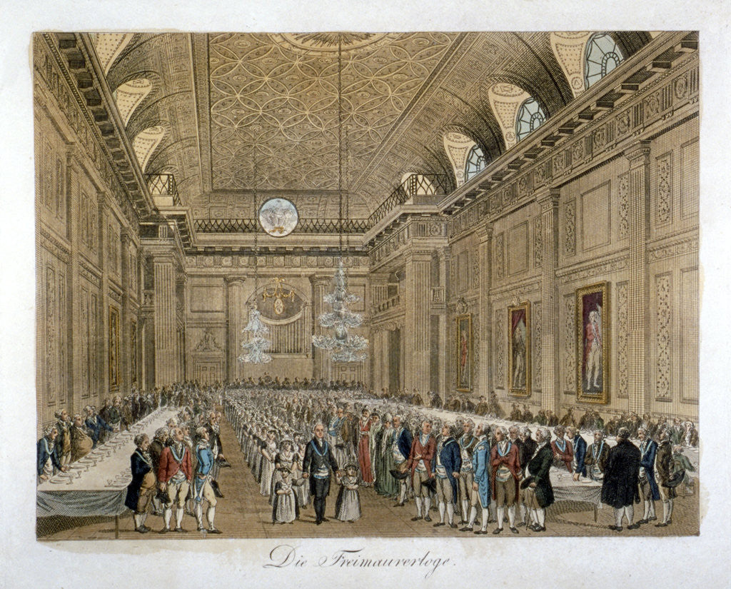 Detail of View of an event in the Freemasons' Hall, Great Queen Street, Holborn, London by