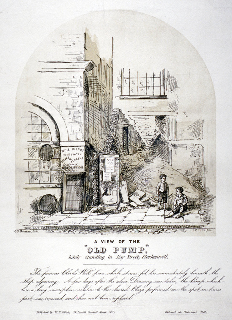 Detail of View of Clerks' Well pump in Ray Street, Finsbury, London by FC Price
