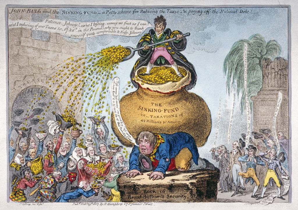 Detail of John Bull and the sinking fund by James Gillray