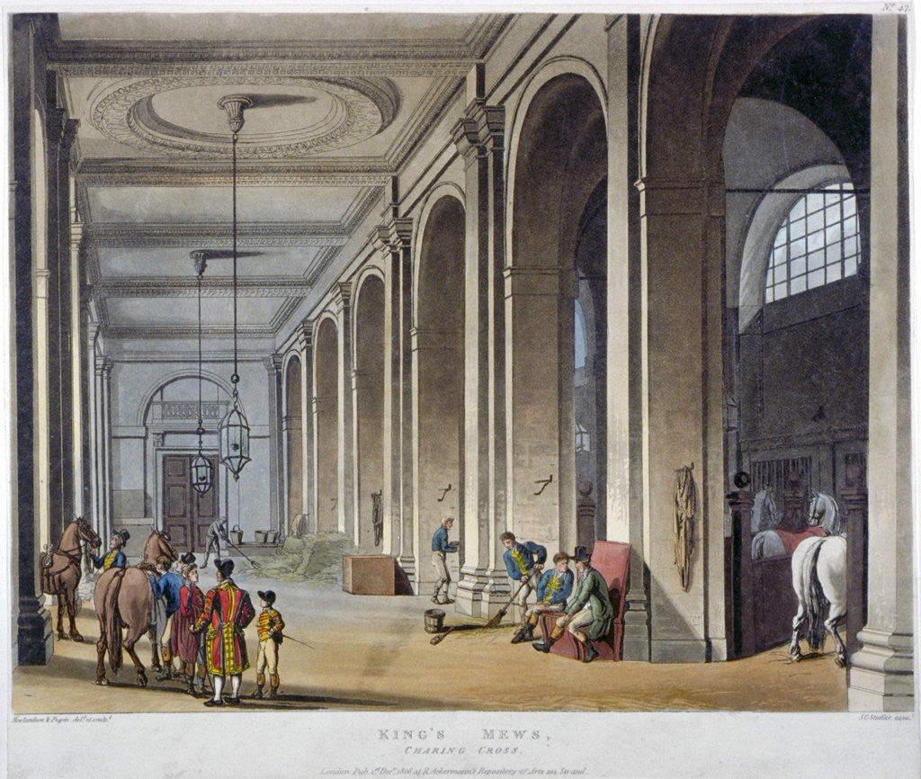 Detail of Interior view of the royal stables, King's Mews, Charing Cross, Westminster, London by Augustus Charles Pugin