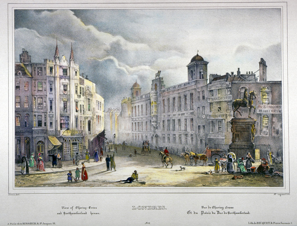 Detail of View of Northumberland House and Charing Cross, Westminster, London by A Legrand