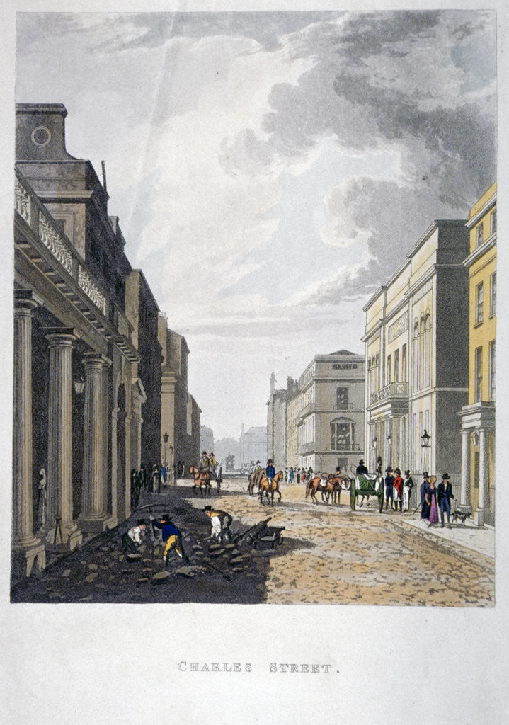 Detail of View of Charles Street with figures working in the foreground, London by Anonymous
