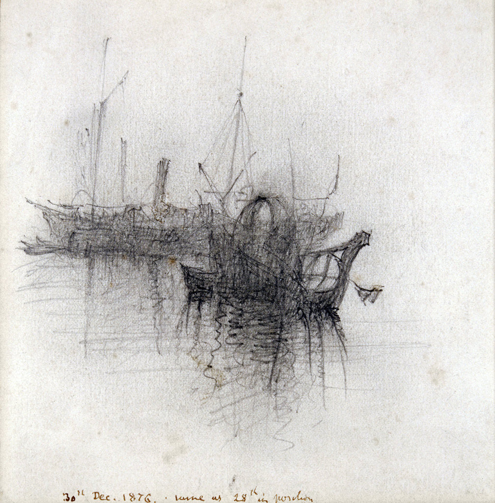 Detail of Study of Shipping by John Ruskin