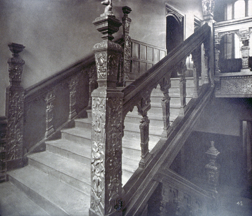 Detail of Interior view of the Grand Staircase in Charterhouse, London by