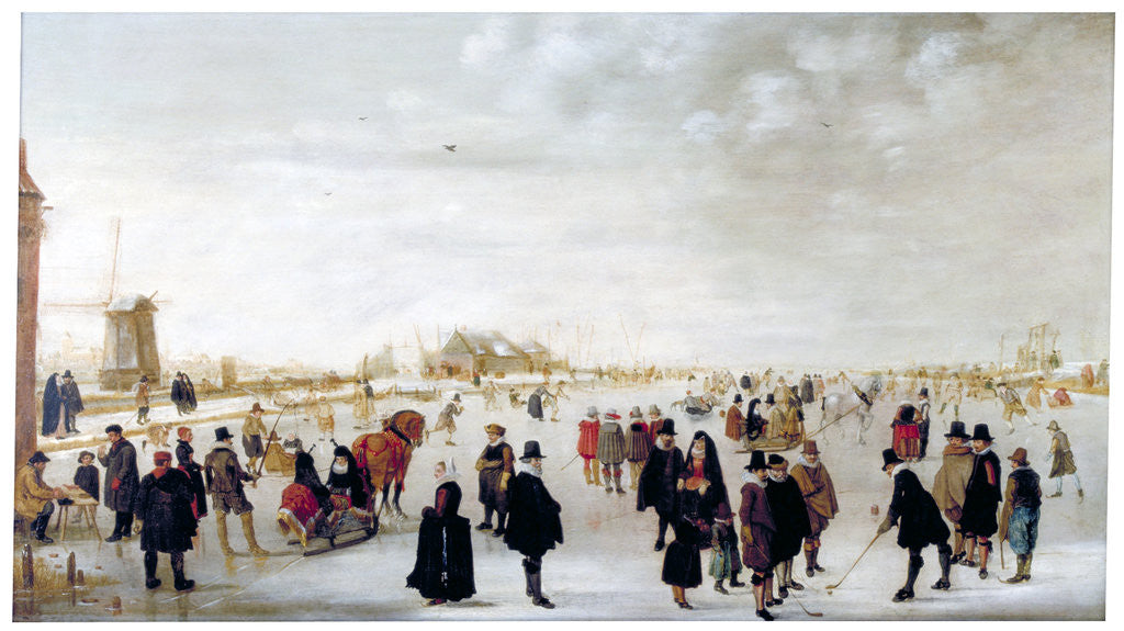 Detail of Winter landscape on the River Ijsel near Kampen by Hendrick Avercamp