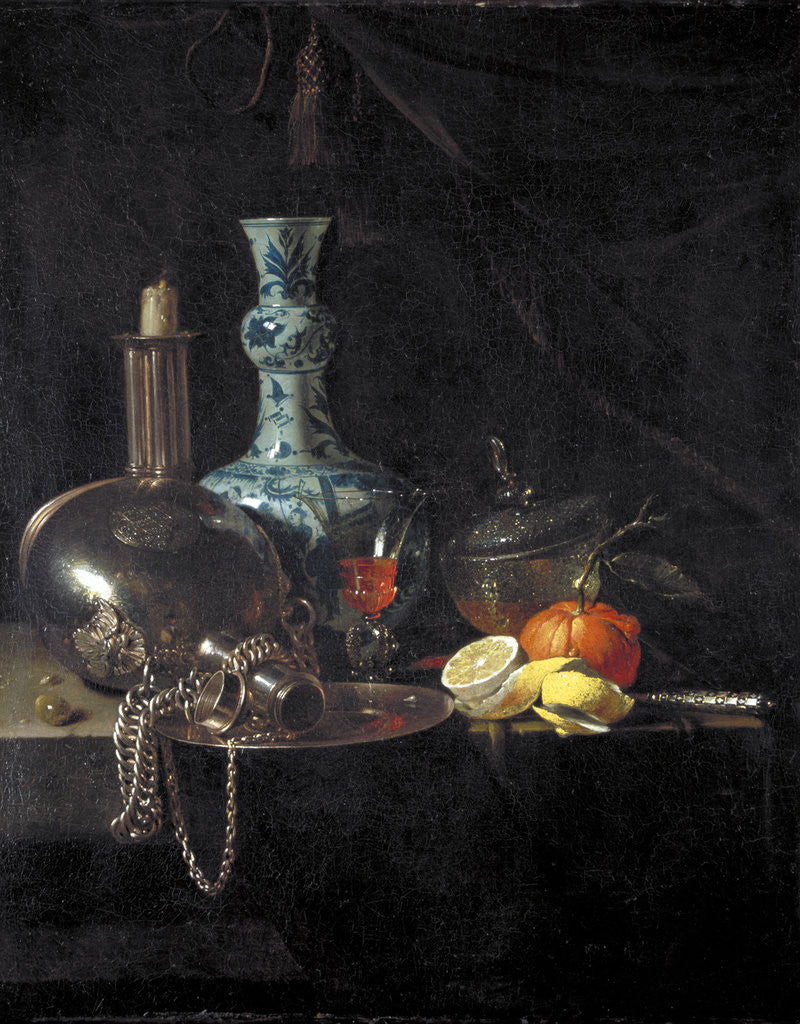 Detail of Still life with a pilgrim flask, candlestick, porcelain vase and fruit by Willem Kalf