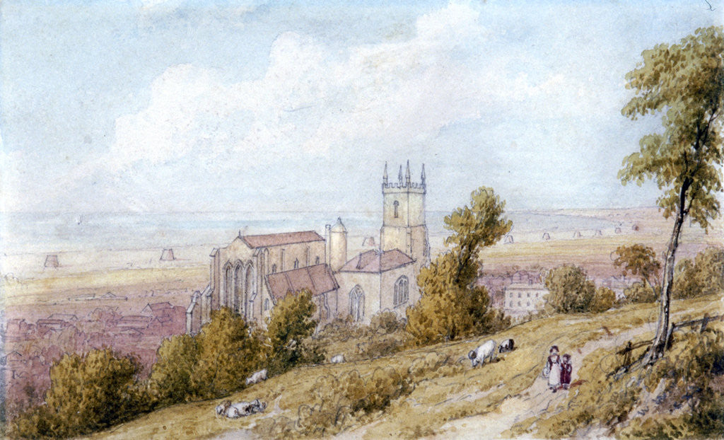 Detail of Hythe Church and Martello Tower by William Westall