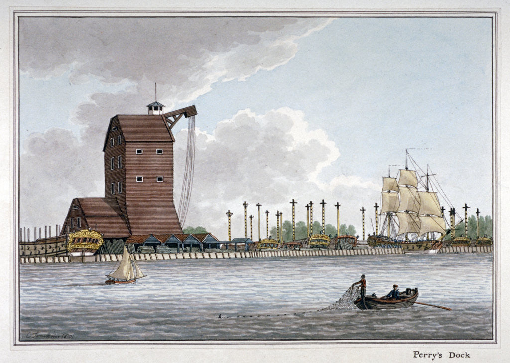 Detail of Brunswick Dock, Blackwall, London by Charles Tomkins