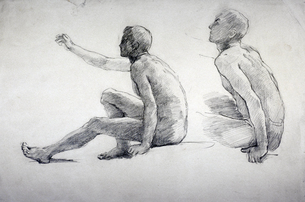 Detail of Two Studies of a Seated Male Nude by
