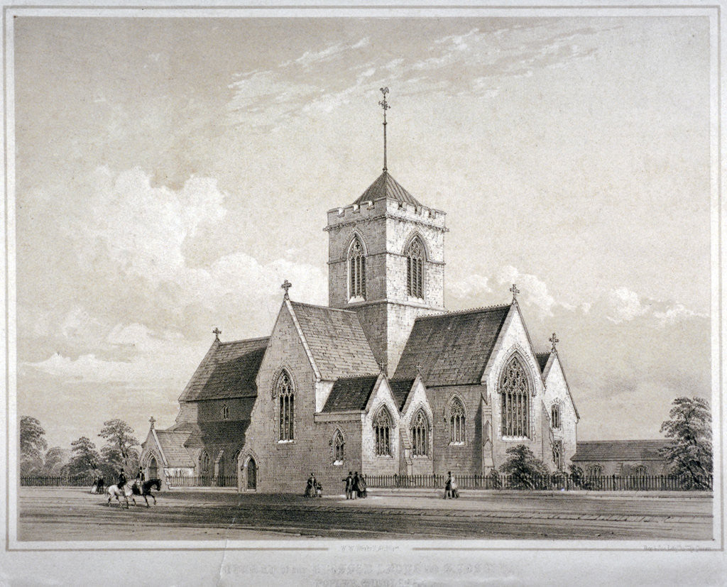 Detail of View of the Church of Our Blessed Lady and Saint Joseph, Poplar, London by Anonymous