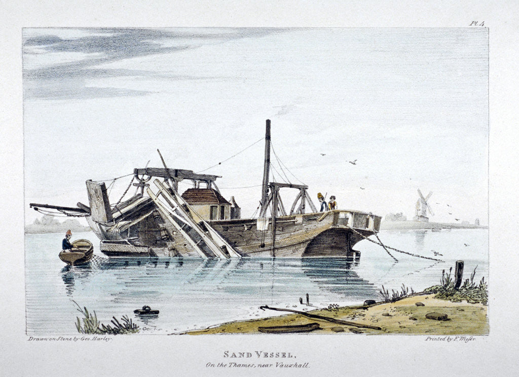 Detail of View of a sand vessel on the River Thames at Vauxhall, London by George Harley