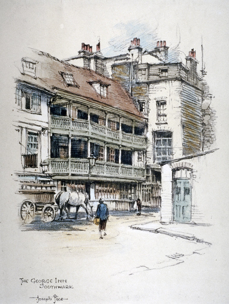 Detail of View of the George Inn, Borough High Street, Southwark, London by Anonymous
