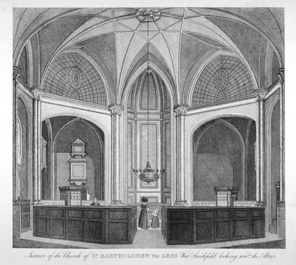 Detail of Interior of the Church of St Bartholomew-the-Less looking towards the altar, City of London by