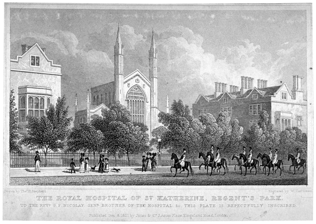 St Katherine's Hospital, Regent's Park, London by William Tombleson