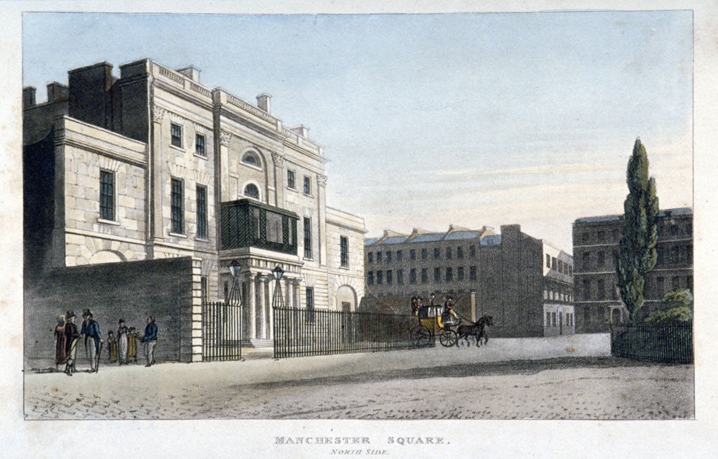 Detail of View of the north side of Manchester Square, Marlebone, London by Anonymous