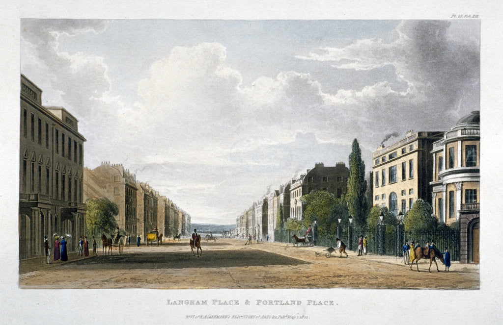 Detail of View of Langham Place and Portland Place, Marylebone, London by Anonymous