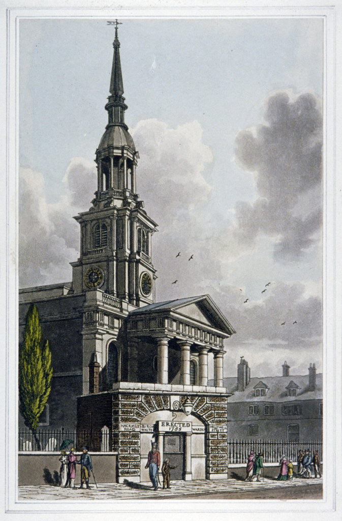 Detail of St Leonard's Church, Shoreditch, London by