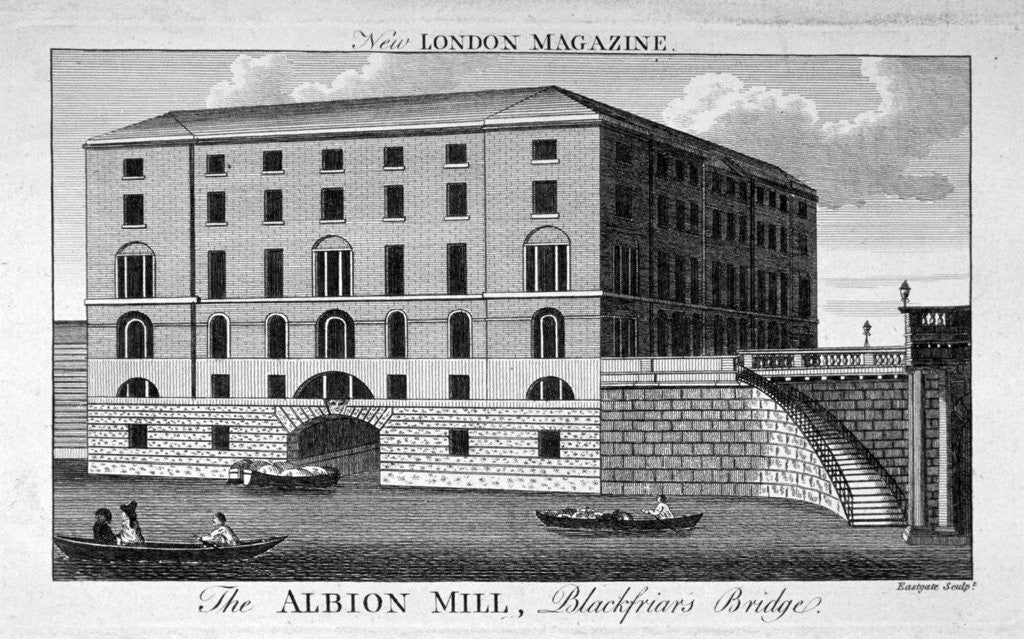 Detail of View of Albion Mill, Southwark, from the Thames by Eastgate