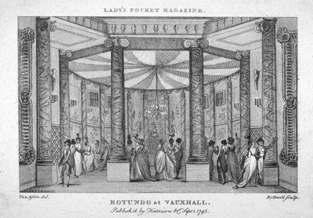 Detail of Interior view of the Rotunda at Vauxhall Gardens, Lambeth, London by Thomas Rothwell
