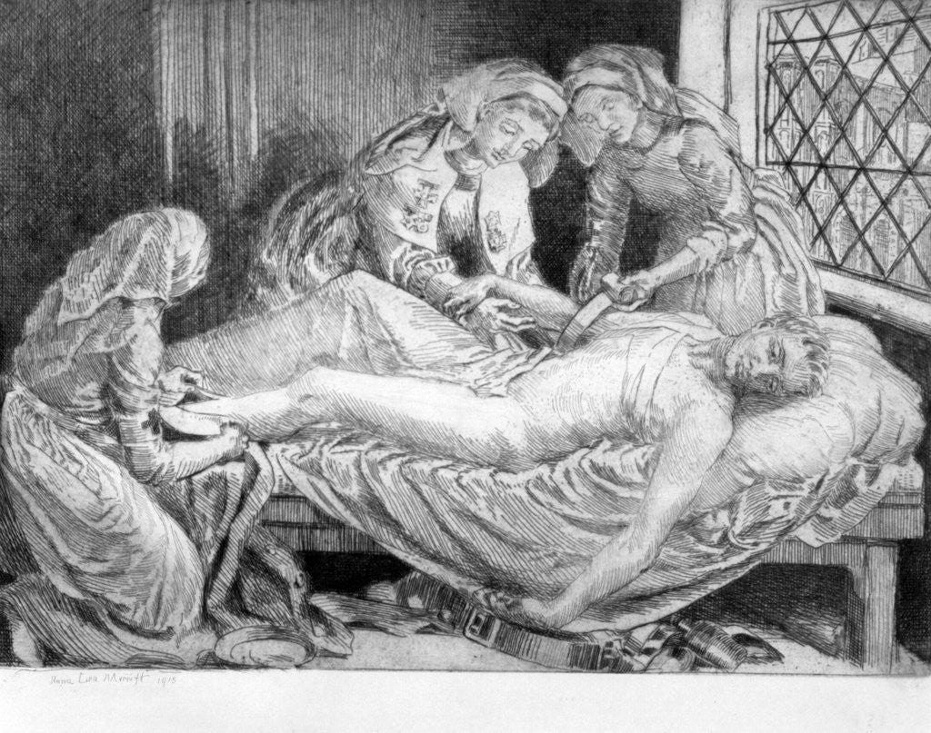 Detail of Three Nurses tending a Wounded Soldier by