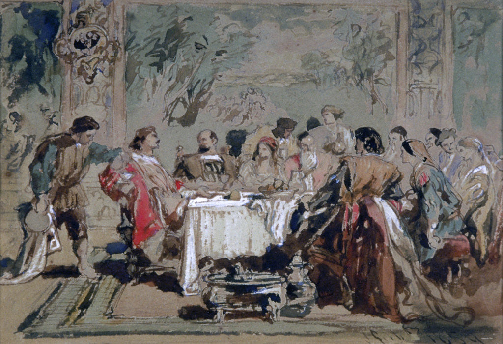 Detail of Banquet at Lucentio's house by Sir John Gilbert