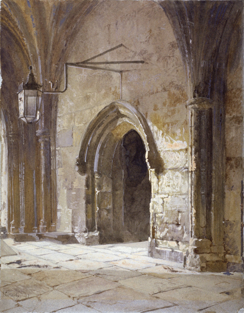Detail of Entrance to the cloisters from Dean's Court, Westminster Abbey, London by