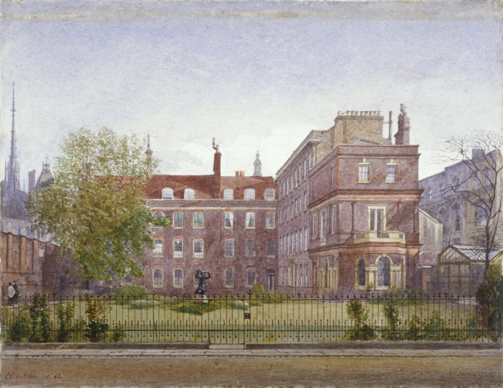 Detail of View of Clement's Inn from the north west looking across the gardens, London by John Crowther