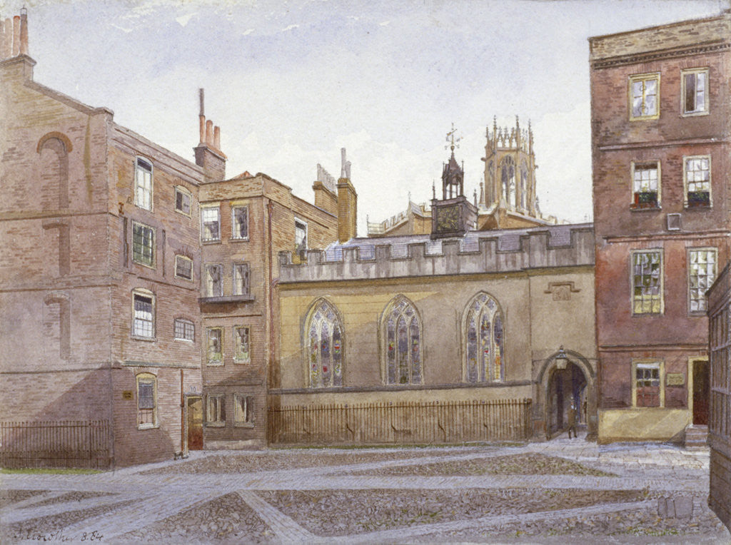 Detail of View of Clifford's Inn and Hall, London by John Crowther