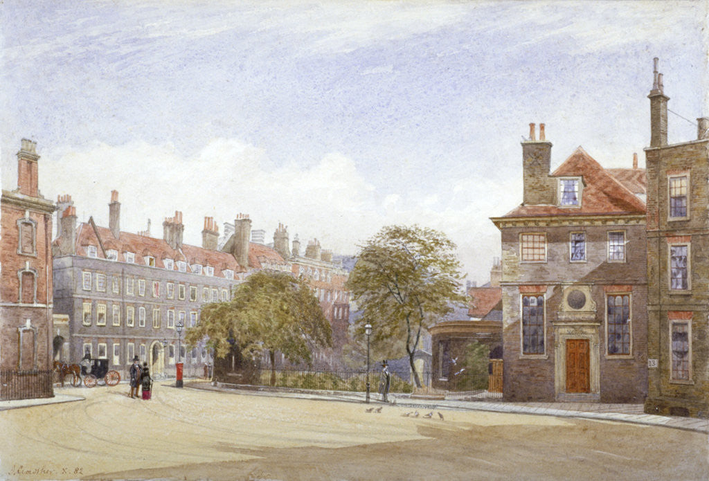 Detail of View of New Inn, Wych Street, Westminster, London by John Crowther