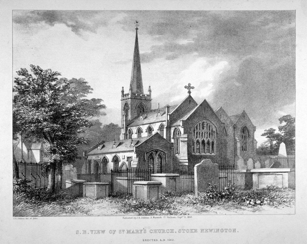 Detail of South-east view of St Mary's Church, Stoke Newington, London by JR Jobbins