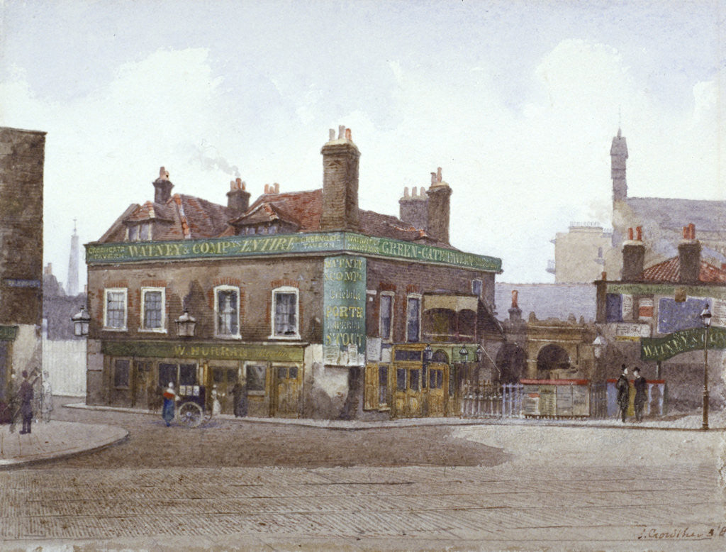 Detail of Green Gate Tavern at the junction of City Road and Bath Street, London by John Crowther