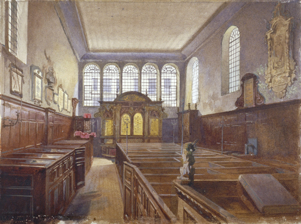 Detail of Interior view of the Church of St Matthew, Friday Street, City of London by John Crowther