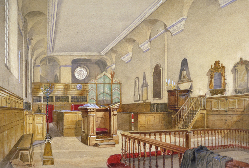 Detail of Interior view of St Michael's Church, Wood Street, City of London by John Crowther