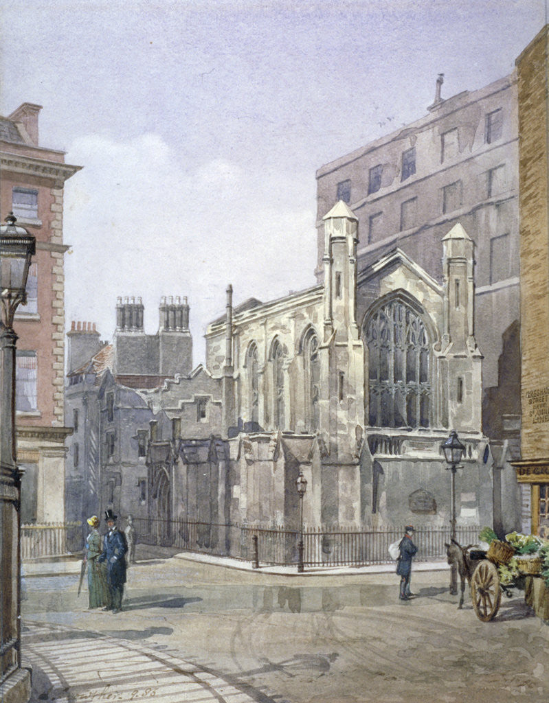 Detail of View of a French Protestant church on St Martin's le Grand, City of London by