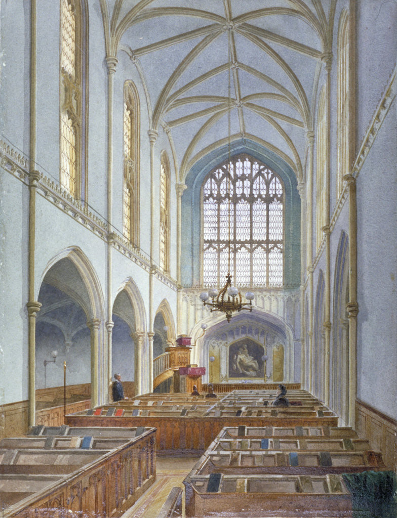Detail of Interior view of a French Protestant church on St Martin's le Grand, City of London by John Crowther
