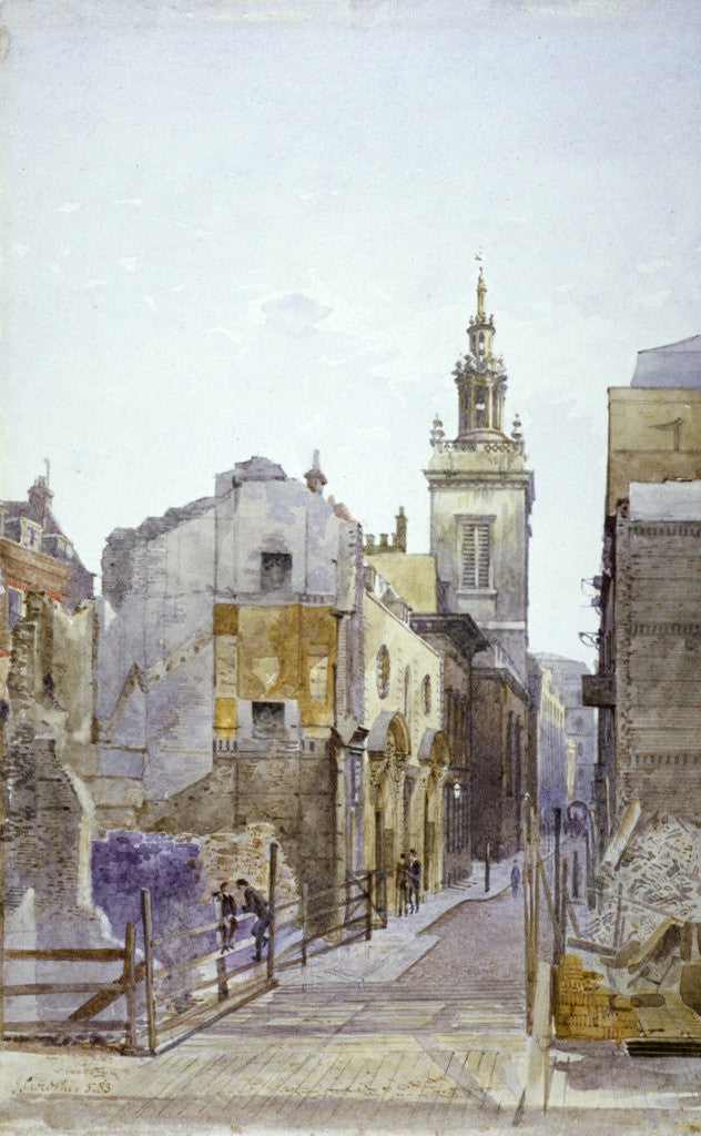 Detail of College Hill and the Church of St Michael Paternoster Royal, City of London by John Crowther