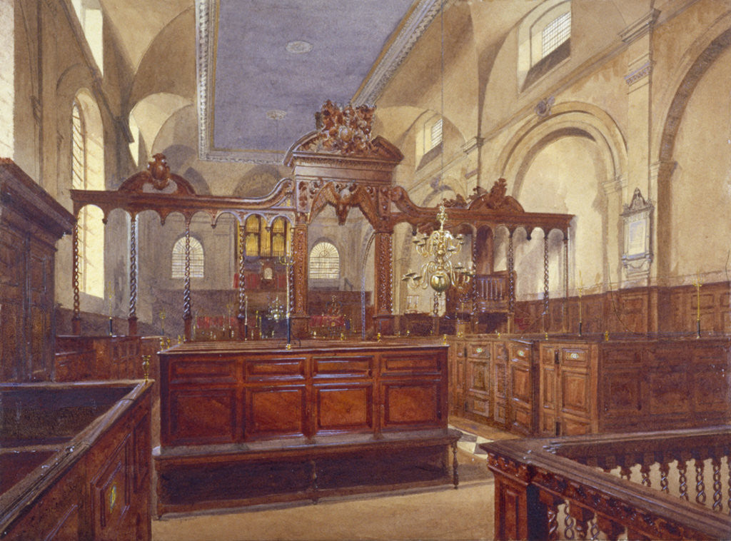 Detail of Interior of the Church of All Hallows the Great, City of London by