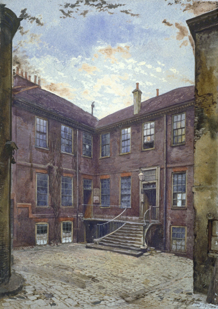 Detail of View of an old house in Great Winchester Street, City of London by John Crowther