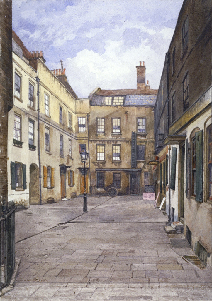 Detail of View of Johnson's Court, Fleet Street, London by John Crowther
