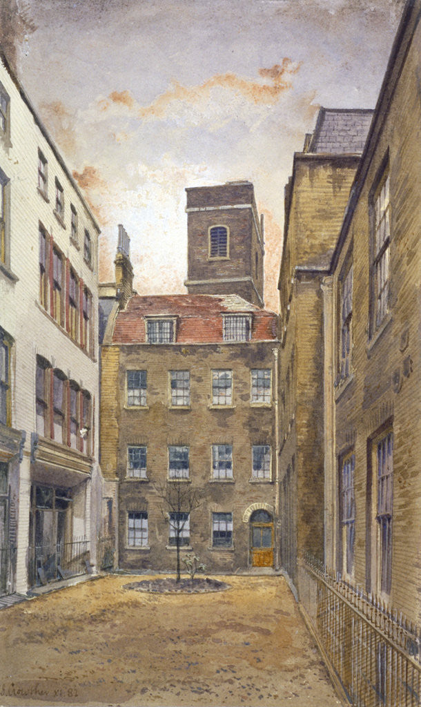 Detail of Tower of the Church of St Matthew, Friday Street as seen from Fountain Court, London by John Crowther