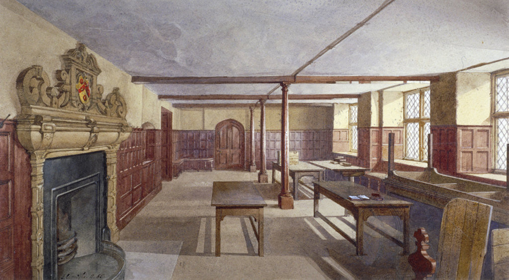 Detail of Interior view of the boys' dining room in Charterhouse, London by John Crowther