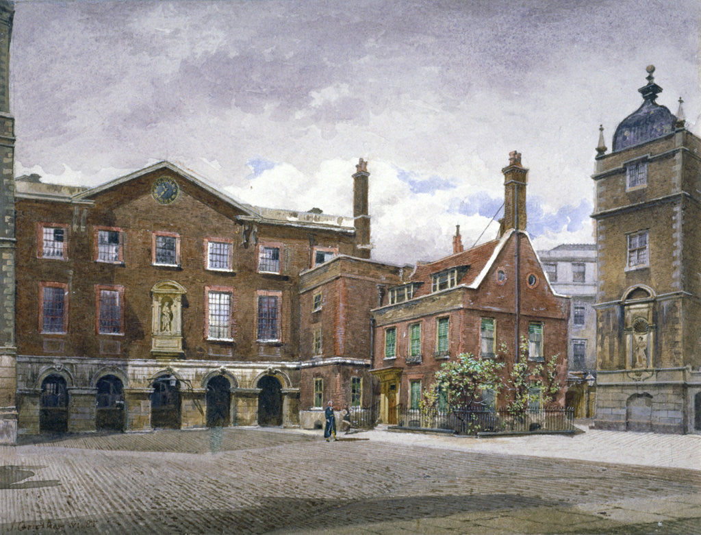 Detail of View of the grammar school at Christ's Hospital, Newgate Street, City of London by John Crowther