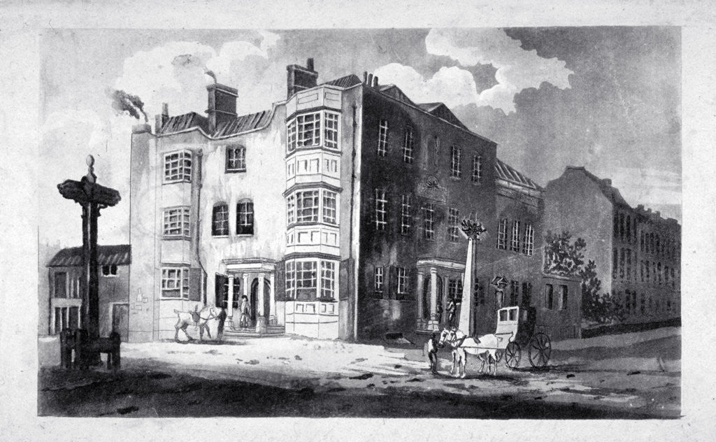 Detail of South-east view of Horns Tavern, Kennington, Lambeth, London by Anonymous