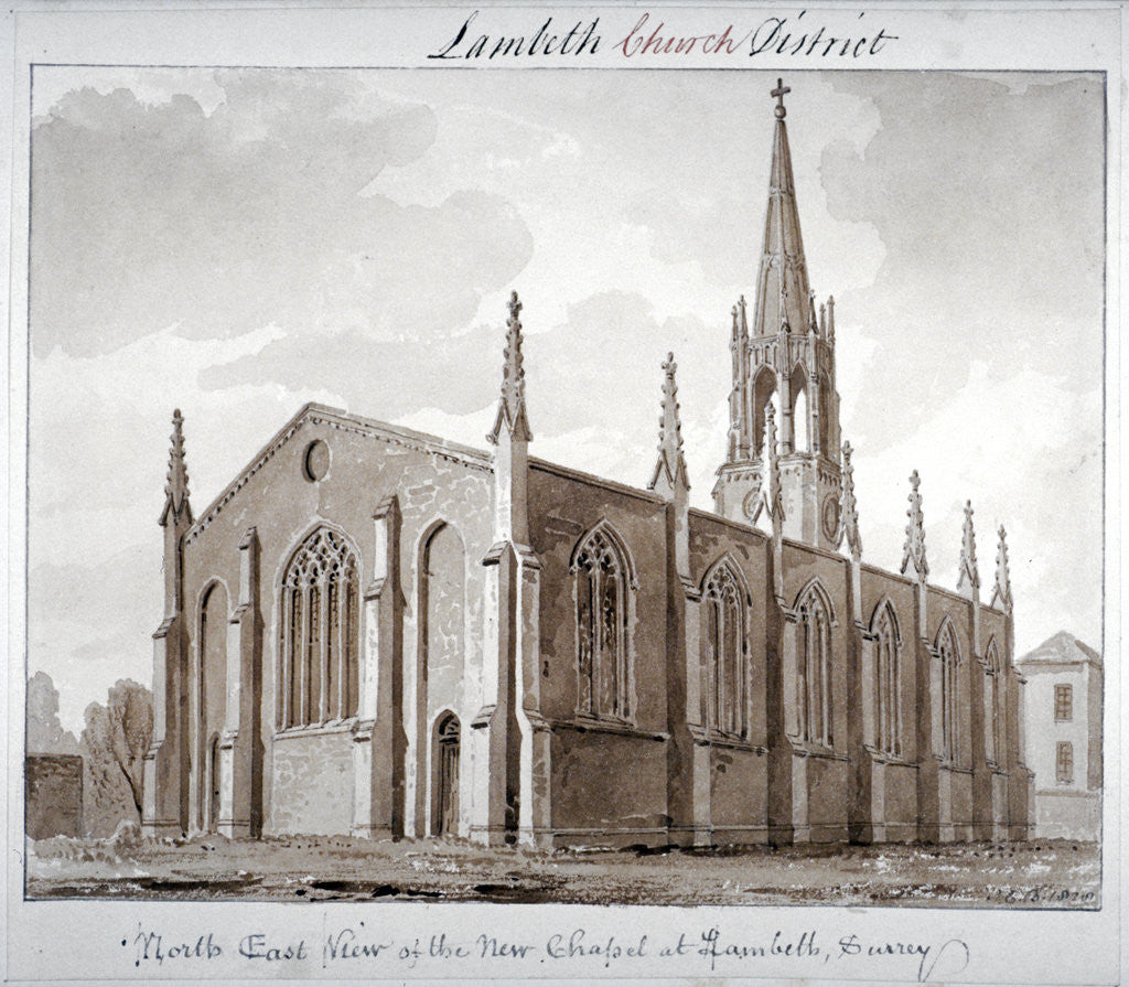 Detail of North-east view of the Church of St Mary the Less, Lambeth Butts, London by John Chessell Buckler