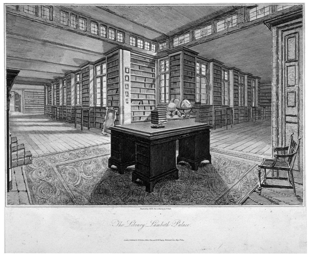 Detail of Interior view of the library at Lambeth Palace, with a desk in the foreground by