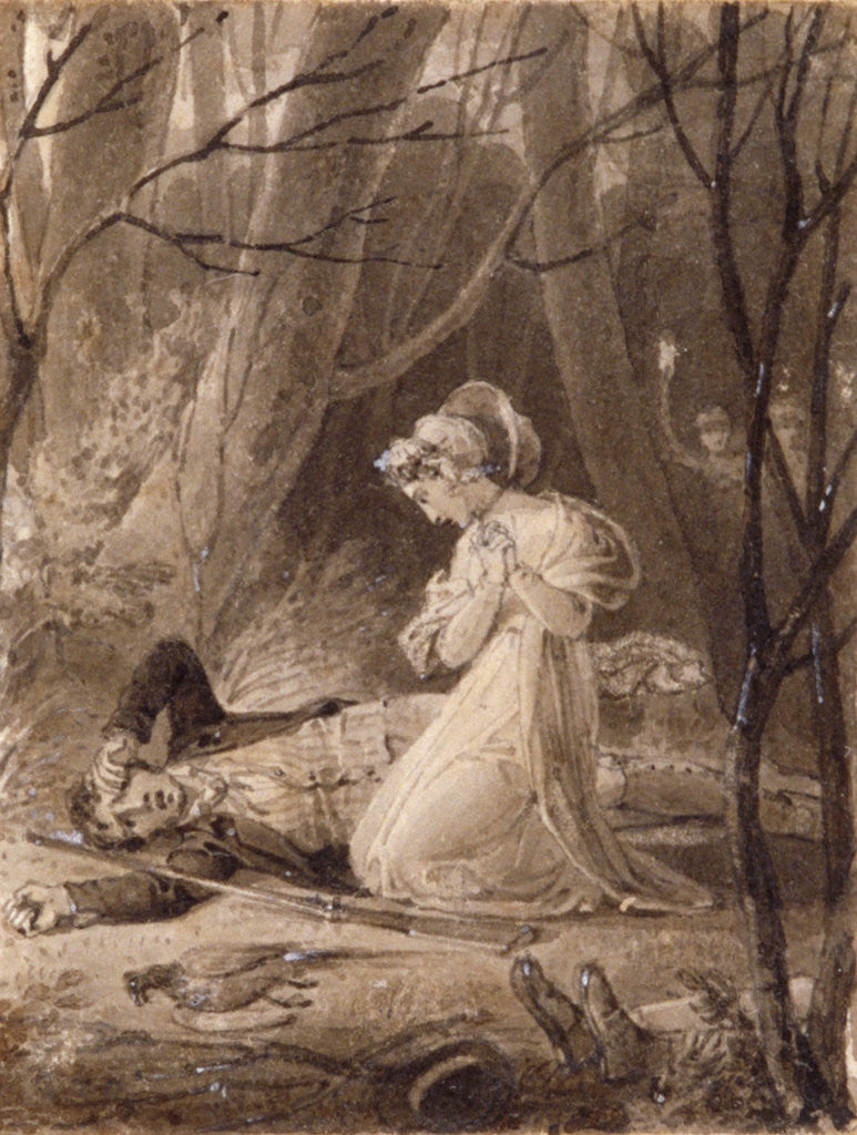 Detail of Scene from George Crabbe's Tales of the hall by Henry Corbould