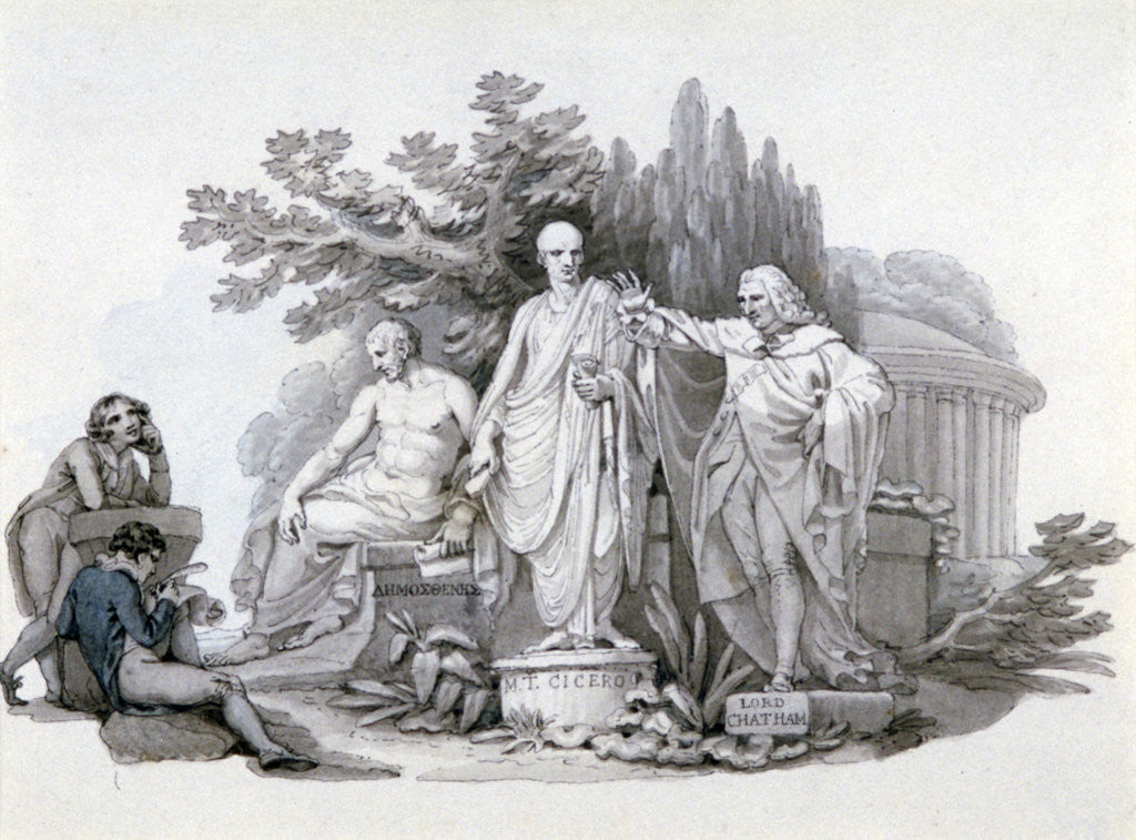 Detail of Two Youths contemplating Statues of Demosthenes, Cicero and Pitt by Edward Francis Burney