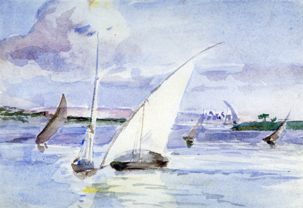 Detail of A Lake with Sailing Boats by Anna Lea Merritt